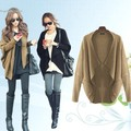 Spring Winter Women's Cape Poncho Knit Top Batwing Cardigan Sweater Coat Black, Khaki free shipping
