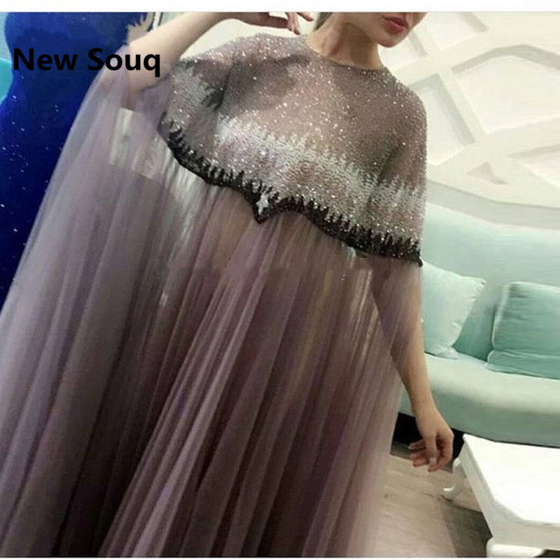 Arabic Robe Dubai Formal Evening Dresses Beaded Appliques Muslim Turkish Moroccan Kaftan Prom Dress Party Gowns Abendkleider