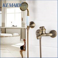 KEMAIDI Wall Mounted Shower Faucet Antique Brass Shower Set Hand Shower Head Bathroom shower faucets Single Handle Mixer Sets