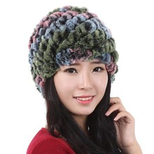 Winter Skullies Beanies Hat/ Women Genuine Knitted Natural rainbow colorful Rex Rabbit Fur Hats Russian Hat