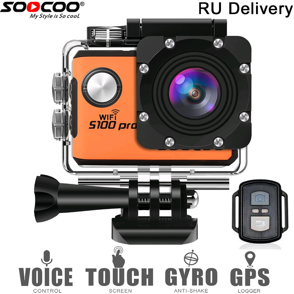 RU entrega: SOOCOO S100Pro 4 K pantalla táctil de acción cámara de Control de voz impermeable DV videocámara 20MP