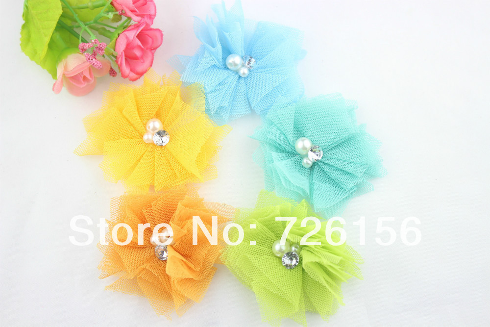 240pcs/lot Colorful Tulle Mesh Flowers With Rhinestone Pearl Center <font><b>Poof</b></font> Flowers headbands Accessories Flat Back image