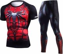 Verano nuevo Marvel Superman compresión camiseta los hombres chándal marca 3D Crossfit Fitness ropa hombres Sets ropa deportiva de los hombres