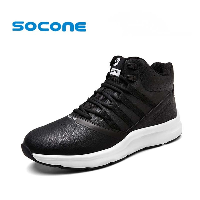 Socone New Arrival High Top Men Running Shoes Winter Warm Lace Up