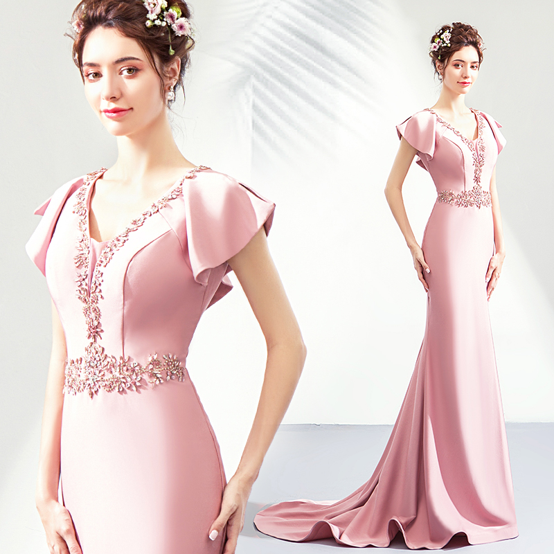 Baby pink   evening     dresses   2019 mermaid formal   dress   appliques crystal prom   dress   tulle lace up brial shower   dress   robe de soiree