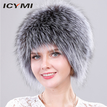 Winter Hats for Women 100% Natural Fox Fur Knitted Cap Fluffy Wig Hat  Causal Beanie Russian