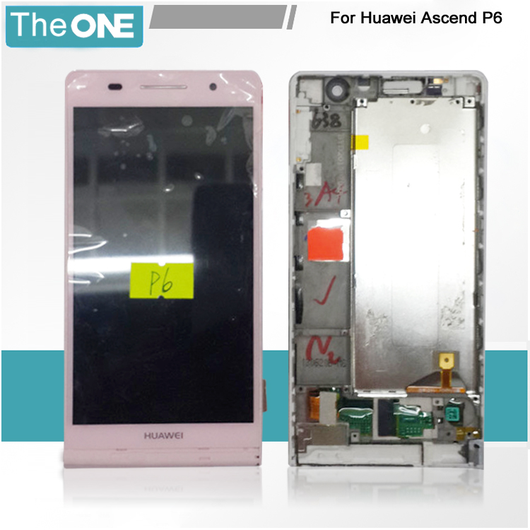 LCD Display + Touch Digitizer Screen glass For huawei Ascend P6 with frame Free Shipping