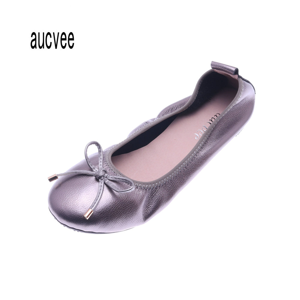 Genuine Leather Brand Flats Women Shoes Female Ballerina Flats Shoes Set foot Loafers Big Size 35