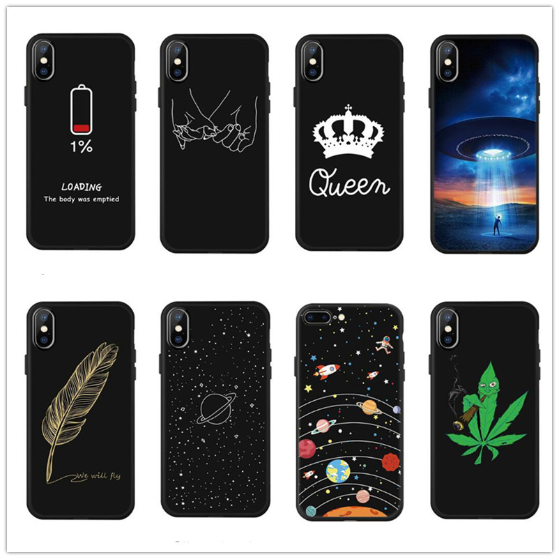 Fashion Space Phone Case For iPhone X 7 6 6S Plus 5 5S Planet Moon Star spider Silicone 8 XS XR XSMAX case