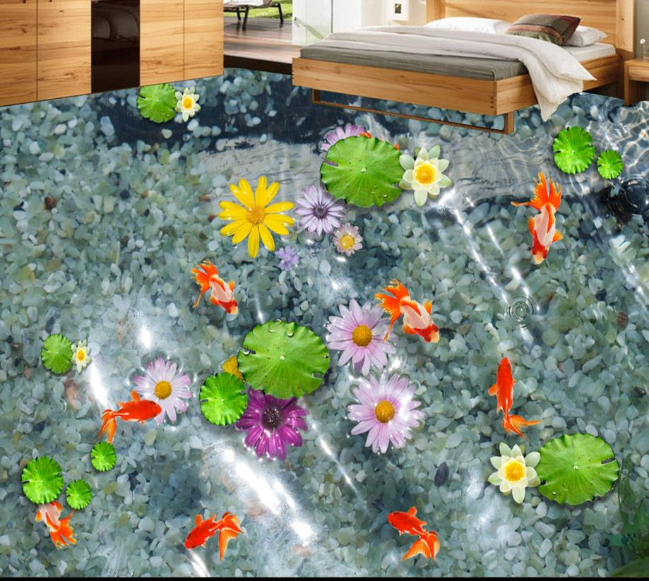3D floor water lotus carp custom bathroom vinyl flooring self-adhesive waterproof 3d pvc wallpaper floor free shipping 3d carp lotus pond lotus flooring painting tea house study self adhesive floor wallpaper mural