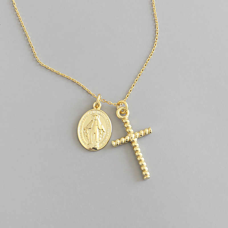 Religious 100% 925 sterling silver twist cross necklaces for women, New gold color Virgin Mary pendant necklace woman jewelry