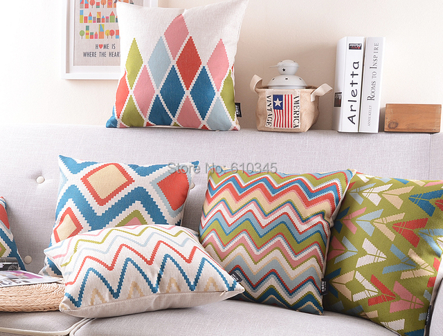 Colorful Abstract Geometric Shapes,Ripple Home Decor Cushion Linen