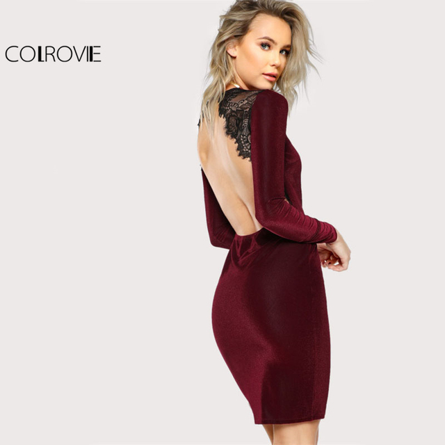 COLROVIE Lace Trim Open Back  Cut Out Velvet Dress Burgundy Round Neck Long Sleeve Elegant Party Dress Ladies Sexy Pencil Dress