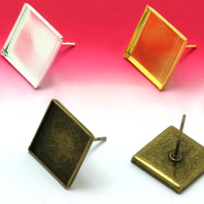 50pcs Gold Silver Stud Earrings Finding Steel Needle Accessories