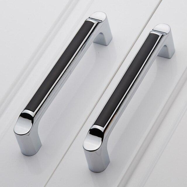 128mm argent blanc armoires de cuisine poign e chrome commode placard tirer noir armoire tiroir. Black Bedroom Furniture Sets. Home Design Ideas