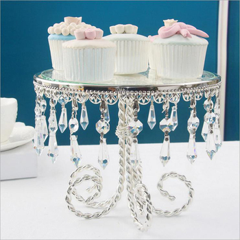 New Metal Cake Table Dessert Tray Silver Plate Metal Crystal Glass Cake Plate Birthday Fruit Cake Stand Wedding Home Decoration
