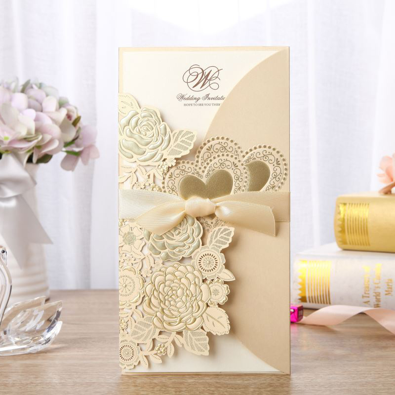 100 pieces lot Wholesale Double Heart Gold Wedding Invitation Card Red White Customize Print Marriage