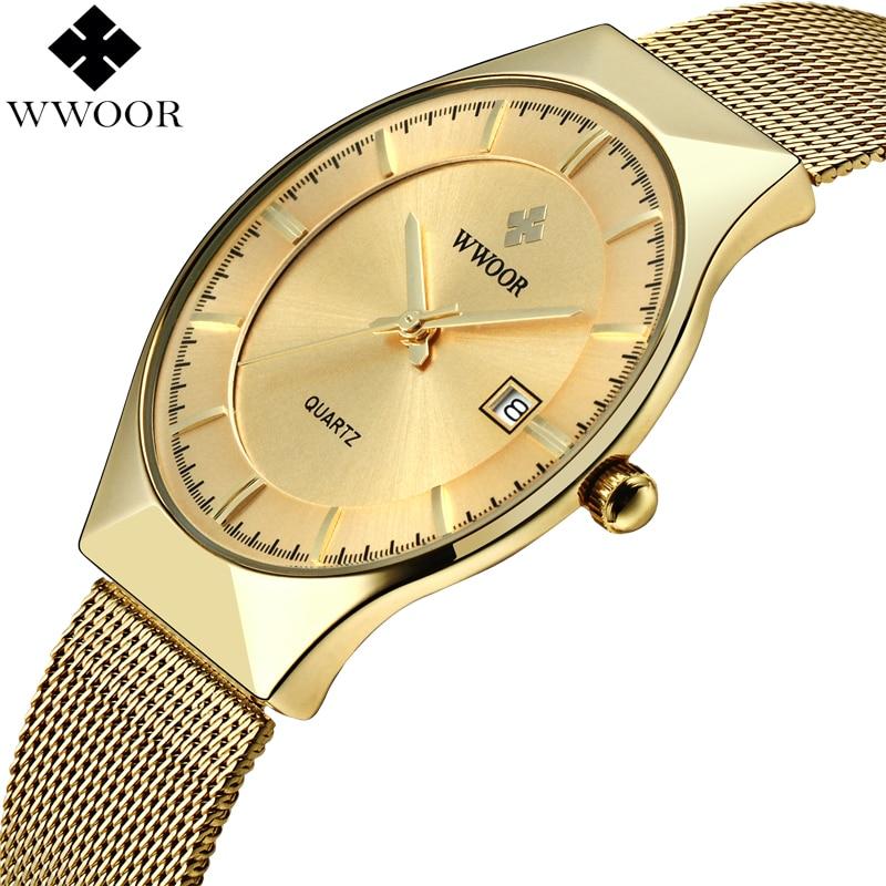 WWOOR Men Ultra Thin Quartz Watch Gold Slim Steel Mesh Men Watches Top Brand Luxury Waterproof Male Wrist Watch Man Golden Clock