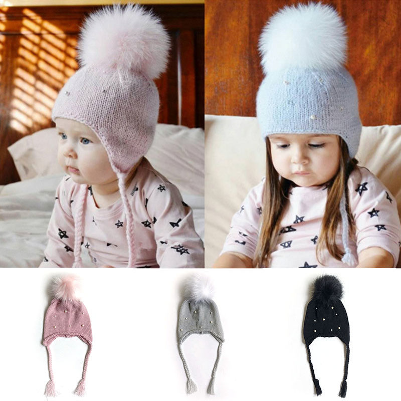 Unisex Baby Girl Toddler Autumn Winter Warm Soft Pearl Hair Ball Ear Knitting Wool Cotton Hat Cap