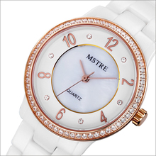 Brand Deluxe Women's Analog Watch Japan Quartz Rhinestone Ceramic Band/Case Sapphire Crystal Wristwatch 3ATM Water Resistance