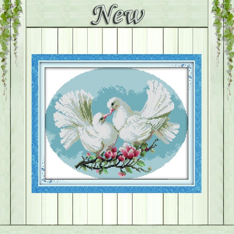 14CT 11CT Pigeon lover DMC Cross-Stitch Sets, dyna kiss djurmålningar sy, heminredning handgjord broderi Nålverk kit