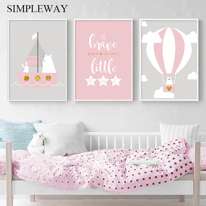 Baby Nursery Canvas Poster Simple Wall Art Print Pink Balloon Canvas Painting Decorative Picture Nordic Kids Bedroom Decoration in Painting Calligraphy from Home Garden