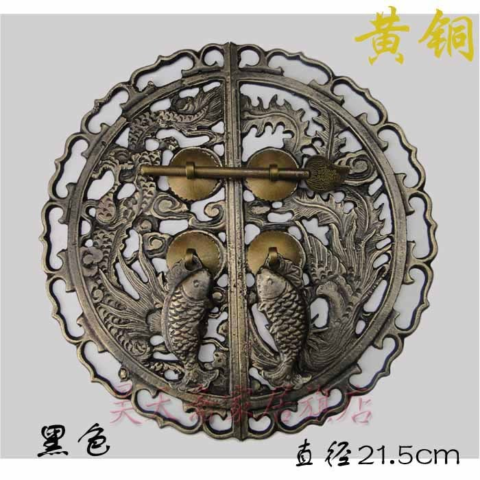 [Haotian vegetarian] Chinese antique Ming and Qing furniture copper fittings door handle dragon and phoenix HTB-181, paragraph t chinese palace pure bronze copper auspicious dragon phoenix pot bottle vase pair
