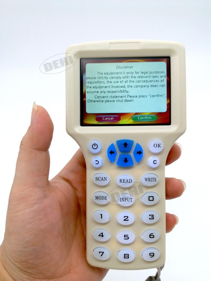 Anglais Rfid NFC Copieur Lecteur Cloner Copie 10 Fréquence programmeur + 5 Pcs 125 khz EM4305 Télécommandes + 5 Pcs 13.56 mhz UID clé
