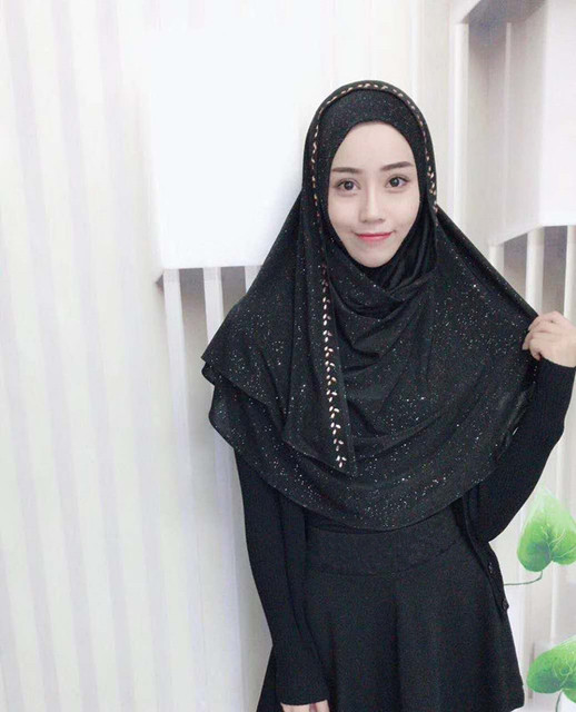 501799d84d Muslim women easy wear headscarf high quality head coverings convenient  embroidery hijab Islam girl's cap big size solid color