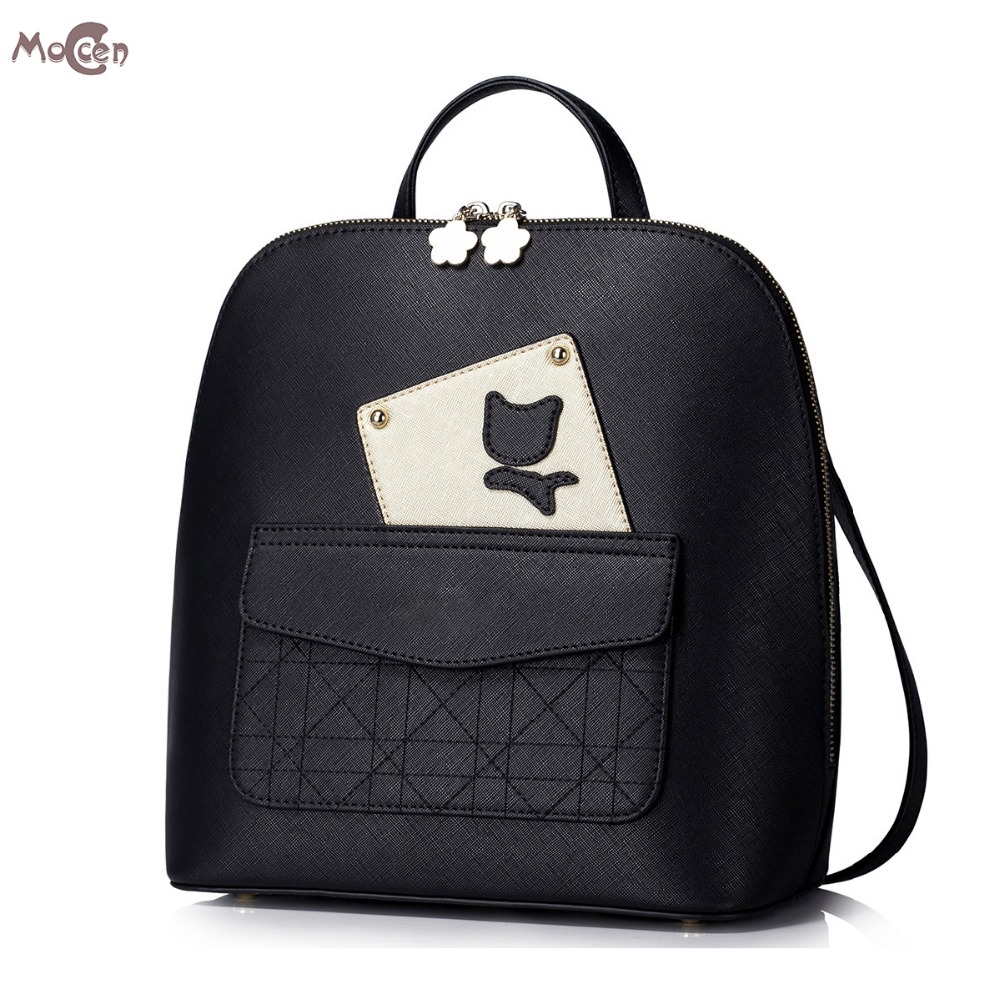 ФОТО Moccen Fashion Lady Backpack Luxury Bags For Women PU Leather Backpacks Young Girl Day Bag With Adjustable Straps