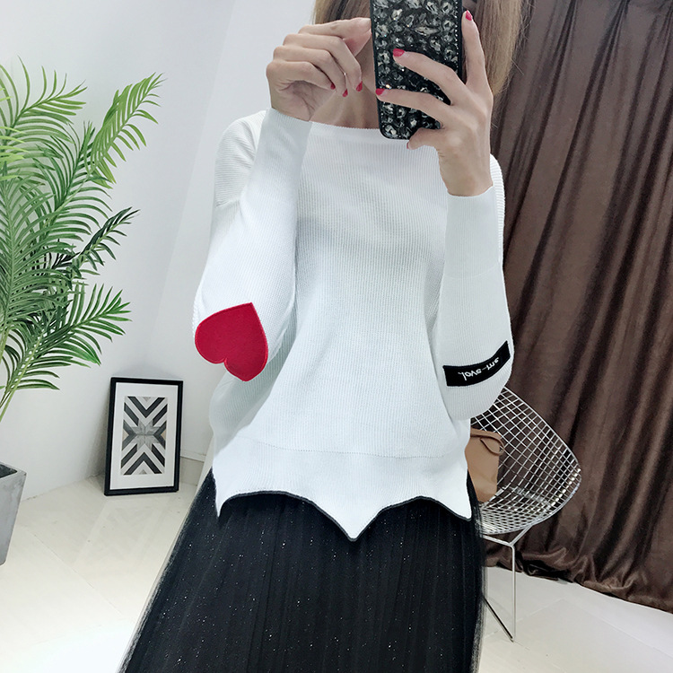 Pullover Women's Free Shipping 2019 Korean Version Of The New Autumn And Winter Knitted Wavy Side Sleeves Patch Sweater Women