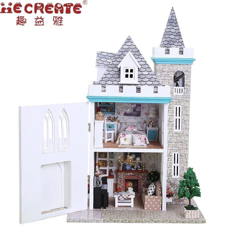 Maison de poupée enfants jouets pour fille bricolage maison de poupées maison avec meubles lumières clair de lune château anniversaire décor jouets pour enfants