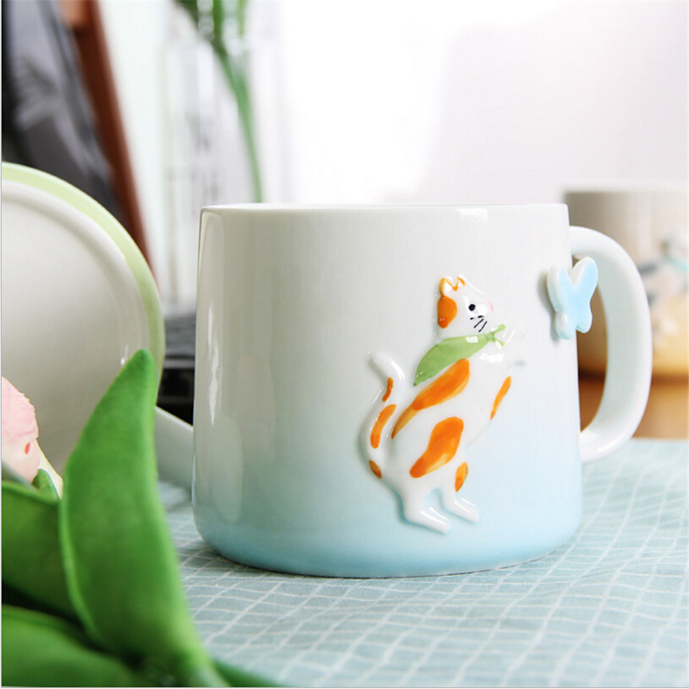 4 Color Cartoon Cat Embossment Ceramic Coffee Mug Coffee Tea Milk Cup for Home Office Creative Gifts 370ml