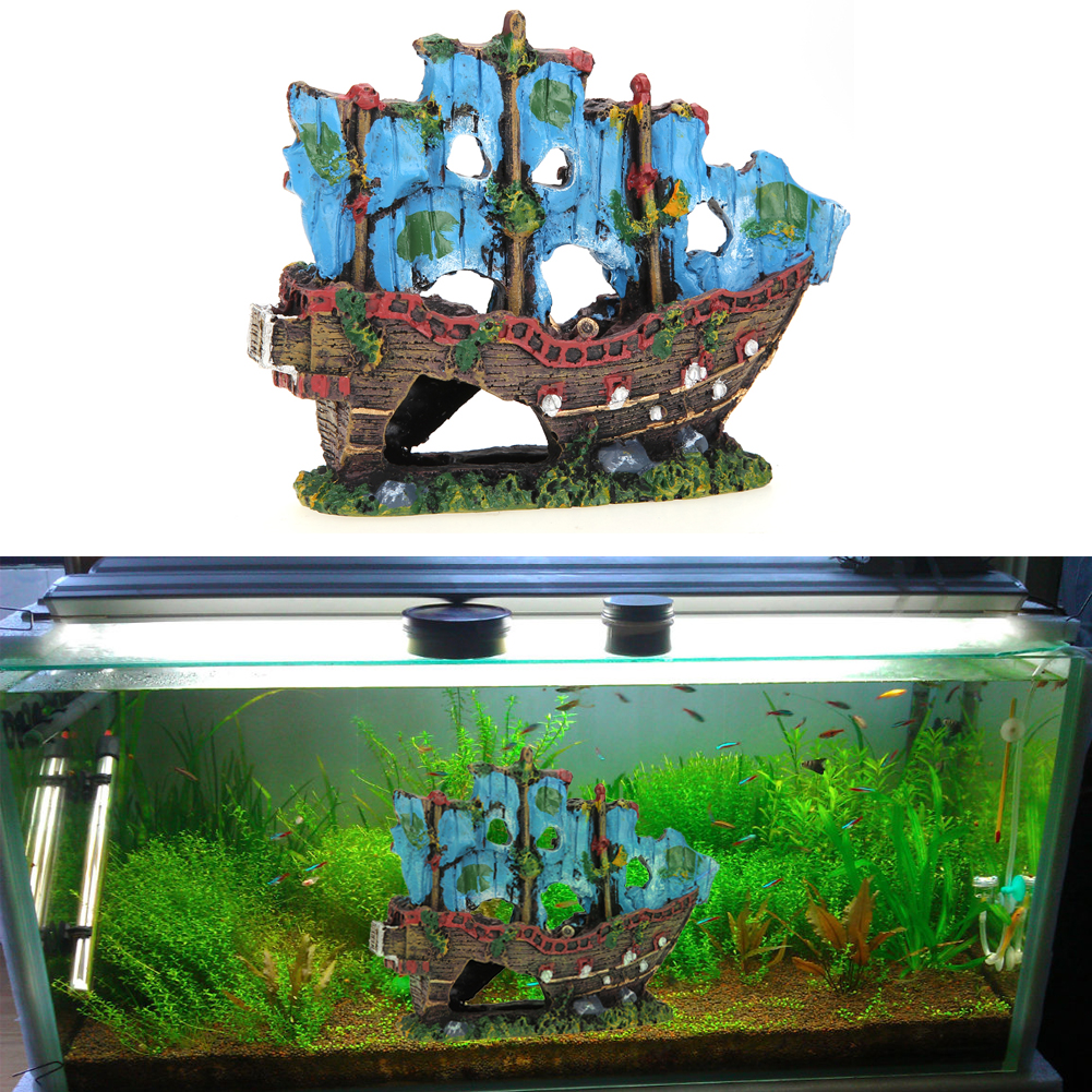 Fish aquarium ornaments - Beautiful Simulation Resin Aquarium Ornament Wreck Sailing Boat Sunk Ship Destroyer Fish Tank Aquarium Decoration