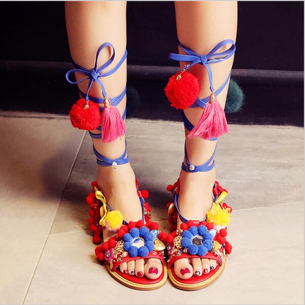 Fashion Pom Pom New Designer Sandals Cross Tied Bohemian Hairball Flat Sandals Women Shoes Tassel Lace-up Mixed colors National bohemian style summer celebrity lace up flat shoes pom poms cute sandals skyblue pink colorful clip toe comfortable dress sandal