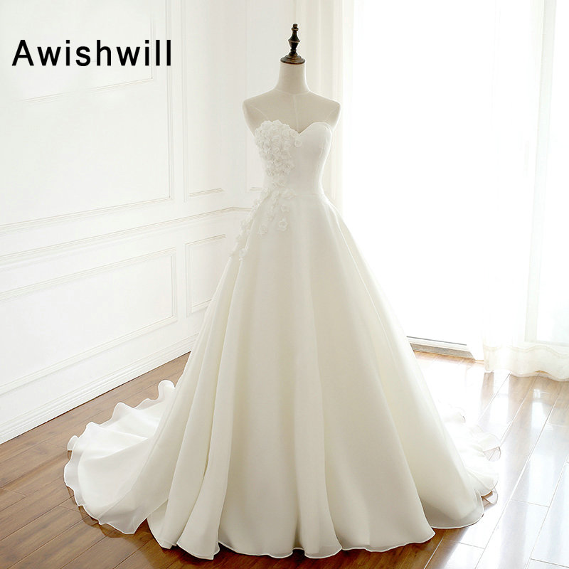 A Line Simple Wedding Dresses: Sweetheart Neck A Line Flowers Embellishment Simple