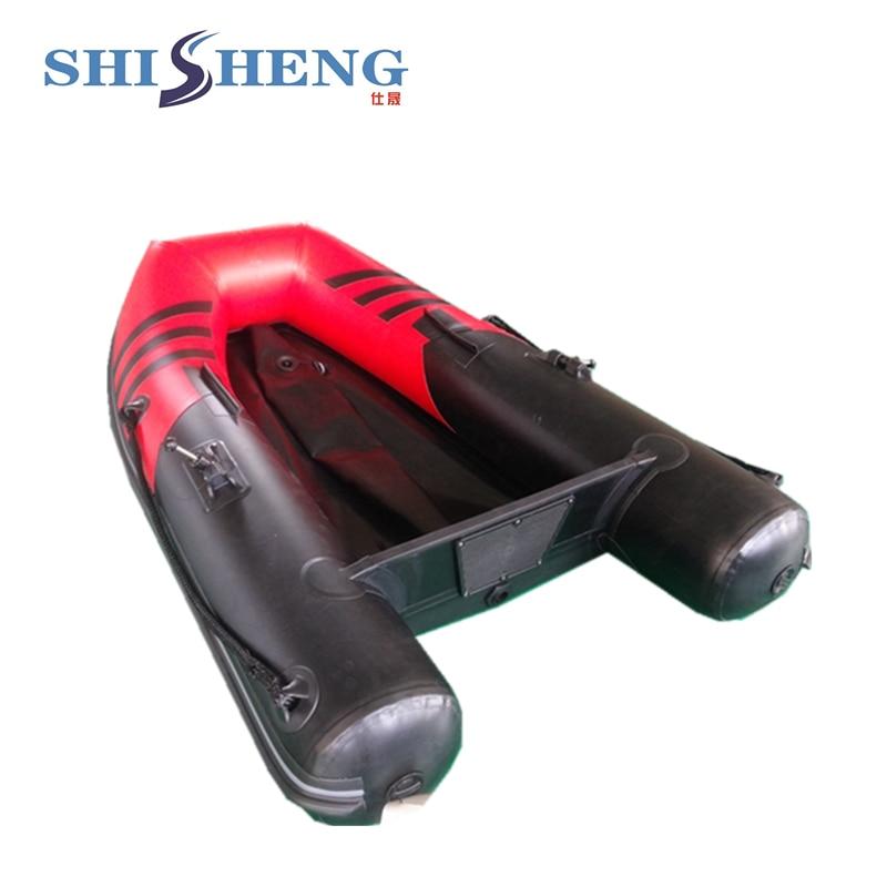 Petit bateau gonflable en caoutchouc rouge et noir CE pour la pêche - 3