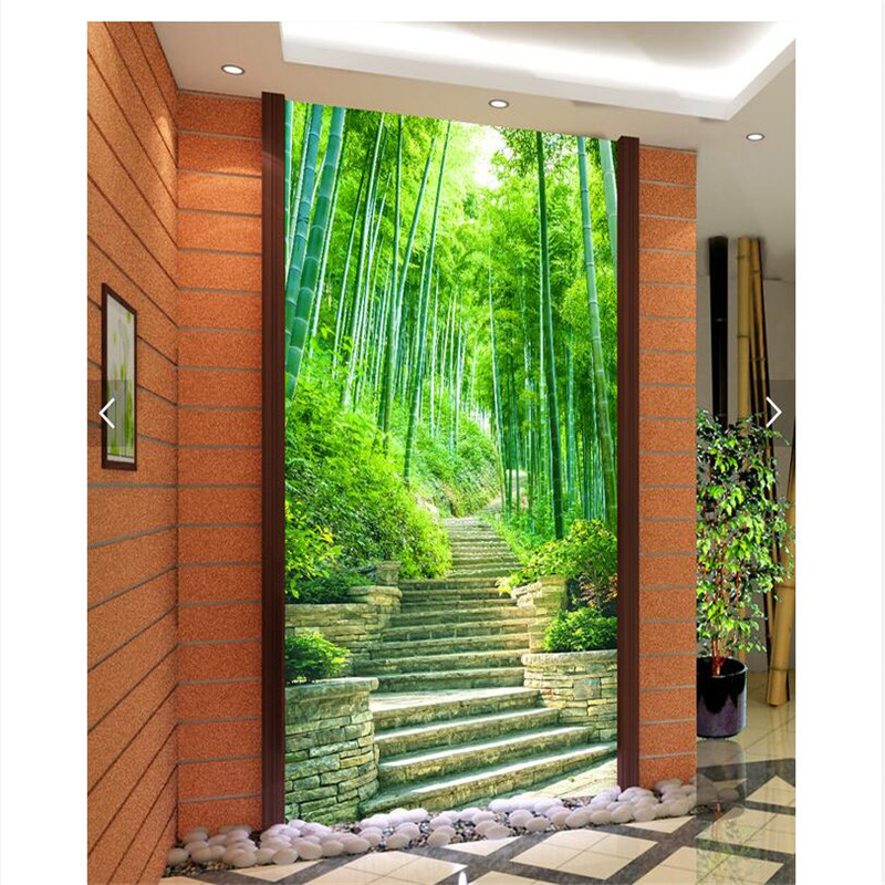 Home Decor Wall Paper 3d Art Mural HD Green Tree Park Marble Road Covering Modern