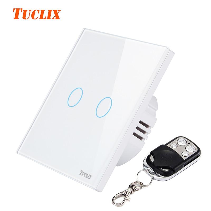 TUCLIX EU/UK 2 gangs 1 voies télécommande tactile interrupteur à distance de la lampe de mur cristal dentelle de trempé verre blanc