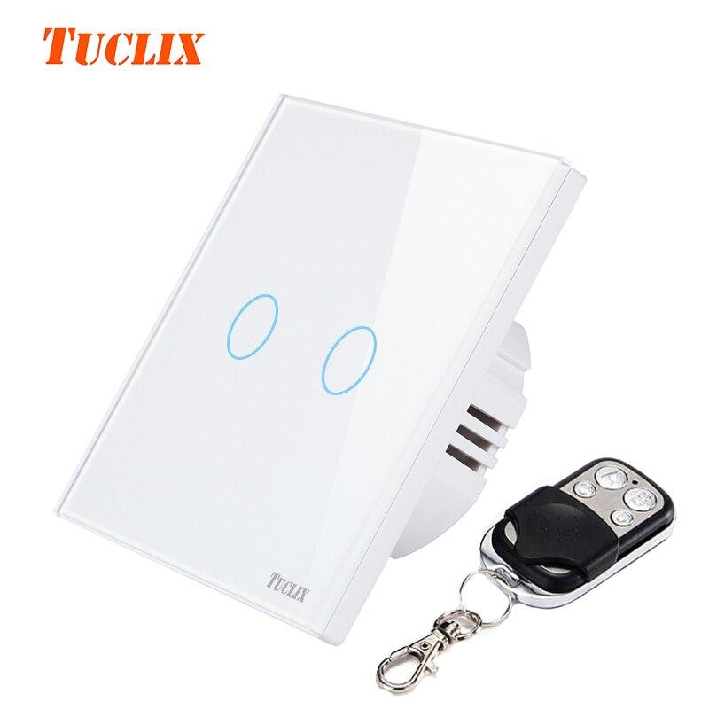 TUCLIX UE/UK 2 bandas 1 remoto Interruptor táctil de control remoto interruptor de pared lámpara encaje de cristal templado vidrio blanco