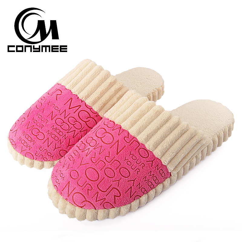 CONYMEE Winter Indoor Fluffy Slippers Women Home Shoes Pantufas Soft Plush Couple Warm Furry Slipper Terlik Woman Cotton Shoe tolaitoe new winter warm home women slipper cotton shoes plush female floor shoe bow knot fleece indoor shoes woman home slipper