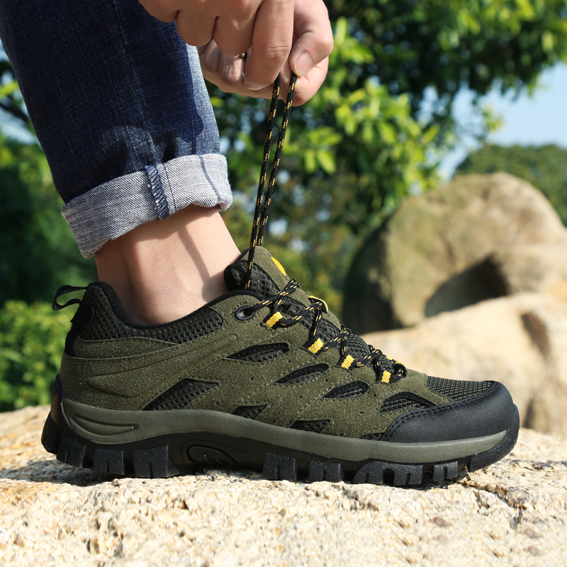 Outdoor Shoes Men Hard-wearing Man Hiking Sneakers Large Size 39-46 Men Climbing Shoes Army Green Summer Tracking Boots