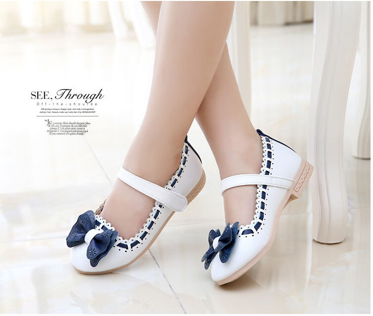 2666addd5 Girls white dress shoes models bowknot princess shoes light leather ...