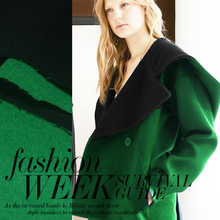 145cm wide green and black double face wool cashmere autumn and winter coat overcoat fabric diy slopwork material