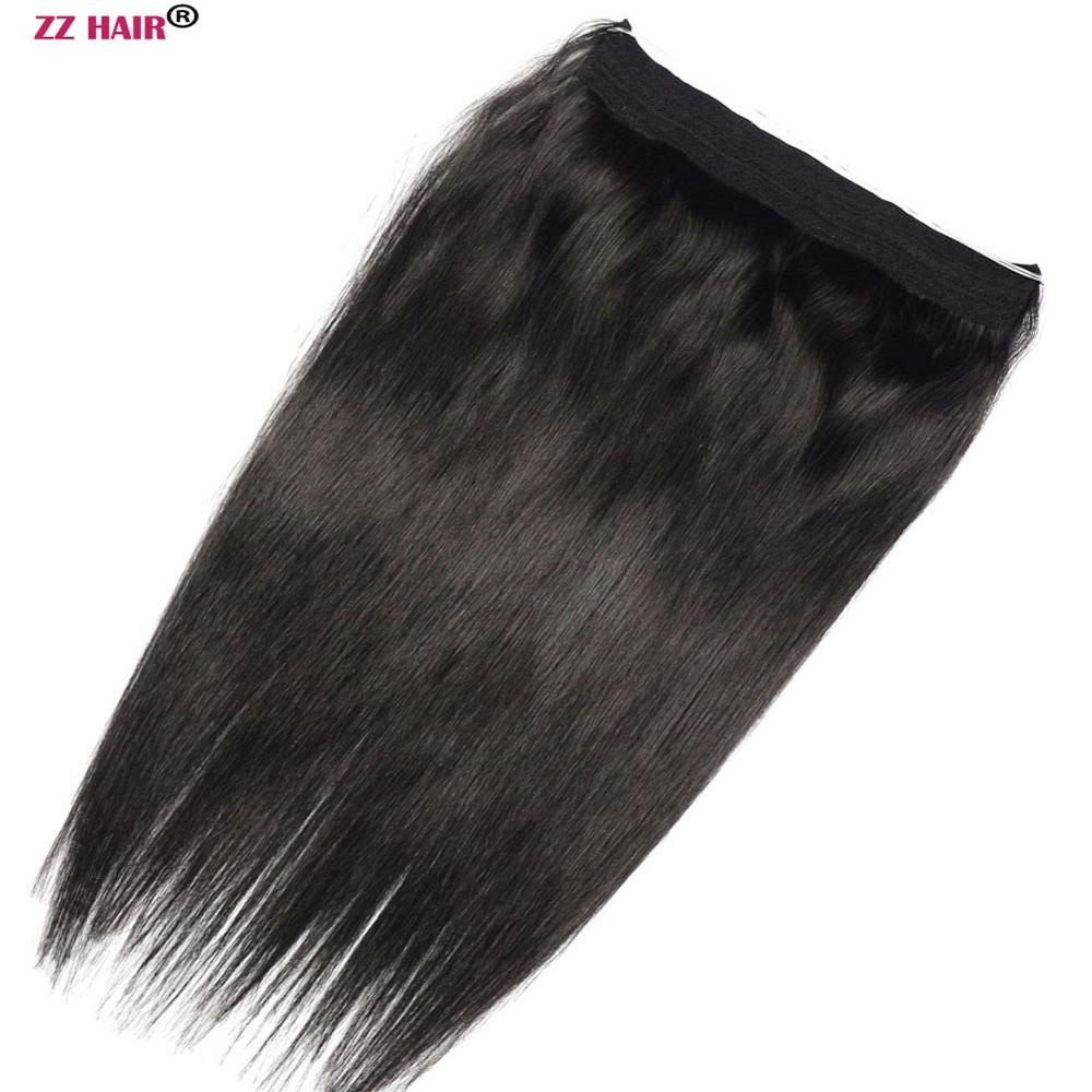 "ZZHAIR 90g-110g 16""-26"" Machine Made Remy Hair Halo Hair Flip in Human Hair Extensions One piece Set Non-clip Fish Line Hair(China)"