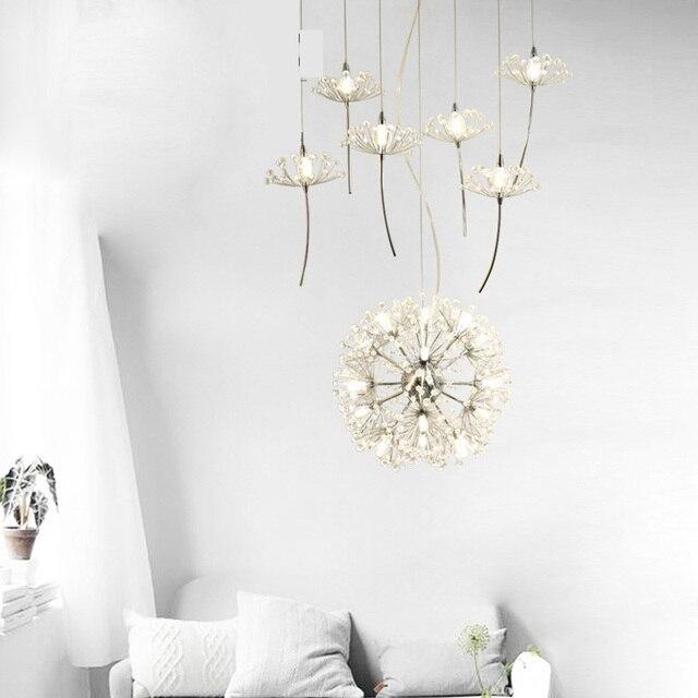 Löwenzahn Leuchte Blume Led Design Kronleuchter Kristall Hängelampe  Anhänger Weiß Designer Deckenleuchten Schlafzimmer Weiß