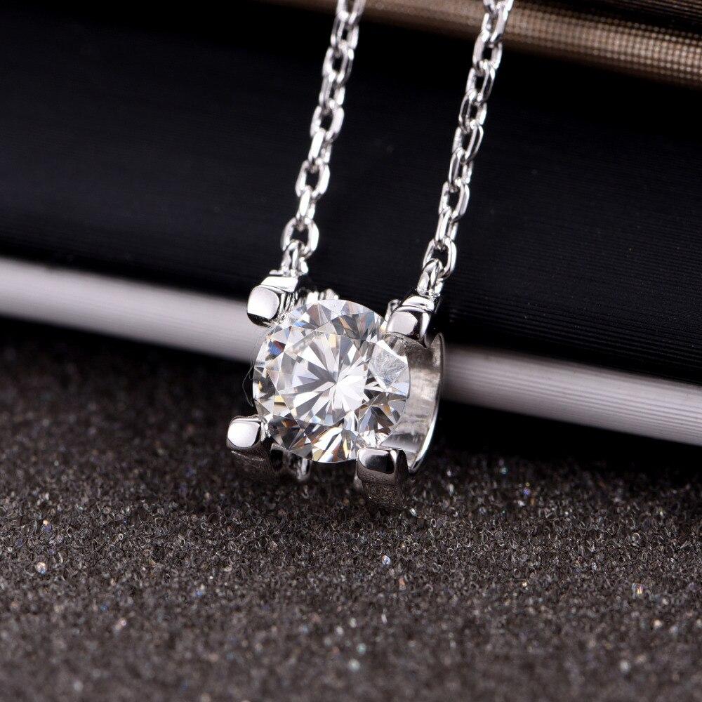 18K white gold diamond necklace/ moissanit diamond necklace .