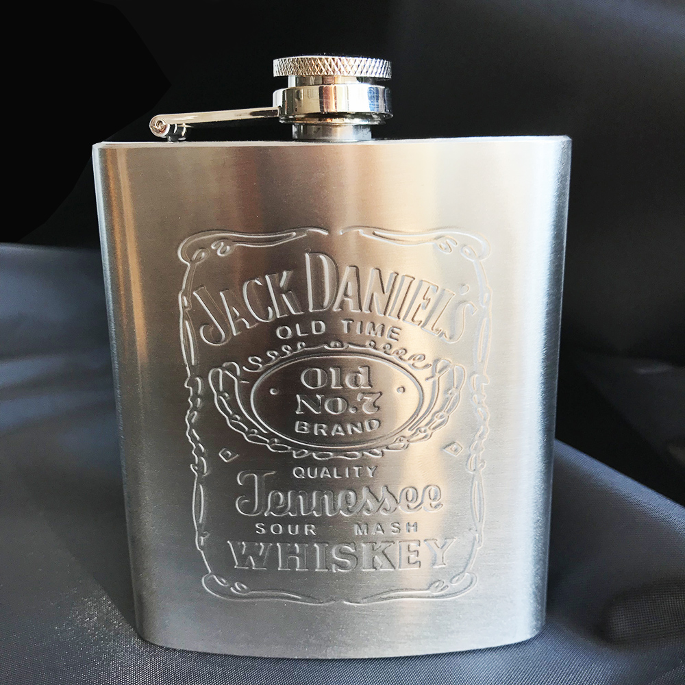 7oz Leather Stainless Steel Hip Liquor Whiskey Alcohol Vodka Pocket Flask Black