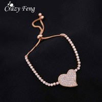 2017 Full Crystal Heart Bracelet For Women Girls Charming Gold/Silver Color Copper Rhinestone Link Chain Bracelet Bangles Bijoux