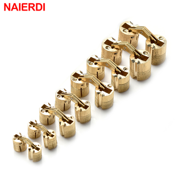 NAIERDI Copper Brass Furniture Hinges 8-18mm Cylindrical Hidden Cabinet Concealed Invisible Door Hinges For Hardware Gift Box цена 2017